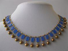 Vintage 1930's  40's Art Deco Blue Chalcedony Glass by markoriauka, $290.00