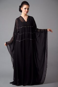 Classic black front open abaya from o3bay made of thin chiffon see through fabric. Beautifully styled back with colorful stone work giving you a gorgeous look.
