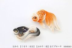 HIMEKO つまみ細工ブローチ【金魚:くるり夜空】【金魚ふわり:橙】 Made in Tokyo Japan