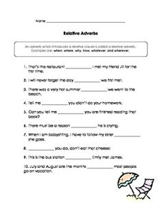 Relative Pronouns & Relative Adverbs Practice Pages