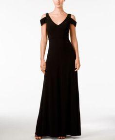 Calvin Klein Off-Shoulder Short-Sleeve Gown - Dresses - Women - Macy's