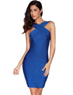 Amazon.com: Meilun Women's Rayon Front Cross Cocktail Bandage Bodycon dress: Clothing