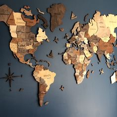Wall Wooden Map of the World Map Travel Push Pin Map Rustic Home Wood Wall Art Anniversary Gift for Husband Boyfriend Wall Art Decor Wood World Map, World Map Decor, World Map Wall Art, Wall Maps, Map Art, Wooden Map, Wooden Wall Art, Wooden Walls, Wall Wood