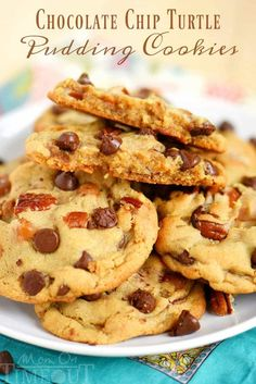 Outrageous Chocolate Chip Turtle Pudding Cookies are loaded with chocolate chips, pecans, and caramel. These giant, bakery style cookies will steal the show! Extra chewy and packed with flavor! Cookie Recipes, Dessert Recipes, Baking Desserts, Trifle Desserts, Pudding Recipes, Chef Recipes, Healthy Recipes, Turtle Cookies, Giant Cookies