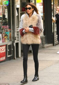 Alexa Chung makes a statement in quirky jacket and jeans in New York #dailymail