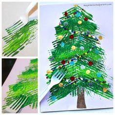 ♫Oh Christmas Tree, Oh Christmas Tree, this fork painted Christmas tree craft is looooovely!! ♫