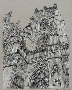 Cathedral sketchbook illustration by Phoebe Atkey
