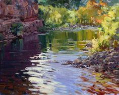 "Available artwork at Oh Be Joyful Gallery! Susiehyer, ""Autumn Oak Creek"" 16"" x 20"" Oil $1850 http://www.ohbejoyfulgallery.com/"