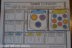 December themed math and literacy centers.  Estimating cookies!