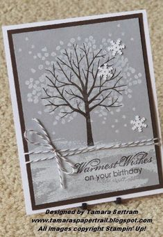 Handmade Cards; Sheltering Tree; 2015 Occasions; 2015 SAB; Stampin' Up!; Handmade Birthday Card; Winter Birthday Card; Tamara's Paper Trail by lorie