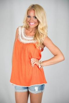 Adorable orange tank with crochet top, also comes in navy blue.