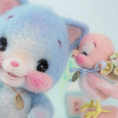 Needle felted blue kitty and pink bird Ribo Japan