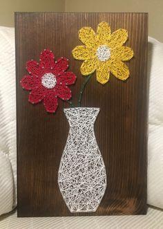 Flower String Art, Daisy - order from KiwiStrings on Etsy! String Art Templates, String Art Tutorials, String Art Patterns, String Wall Art, Nail String Art, String Crafts, Art Floral, Hilograma Ideas, Arte Linear
