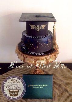 Hot Pink And Black Graduation Cake Graduation Cakes Pinterest - Dark knight birthday cake