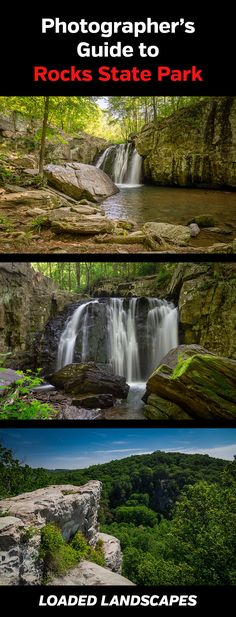Photographing Rocks State Park (Kilgore Falls) in Maryland. Landscape, nature, photography, photos, planning, scouting, destinations, locations, map, waterfalls, Kilgore Falls, King and Queen's Seat, rock formations, tips, best views, #maryland, #md, #photography, #landscapephotography