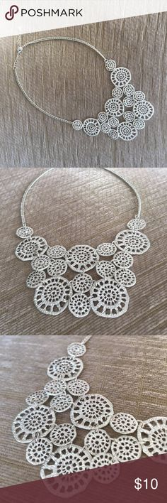 Silver Statement Necklace This fun silver statement necklace is the perfect piece to make your outfit memorable.  Lays beautifully while worn! Jewelry Necklaces