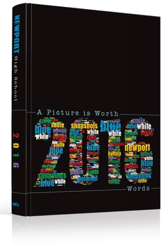 "Yearbook Cover - Newport High School - ""A Picture is Worth 2016 Words"" Theme - Words, Word Salad, Wordle, Colorful, Black Background, Spectrum Words, Roy G. Biv, Primary Colors, Yearbook Ideas, Yearbook Idea, Yearbook Cover Idea, Book Cover Idea, Yearbook Theme, Yearbook Theme Ideas"