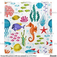 Ocean life pattern with sea animals shower curtain http://www.zazzle.com/pd/spp/pt-menoenterprises_showercurtain?dz=462fa159-a169-4526-9377-c54fc28e9506&clone=true&pending=true&style=showercurtain&liner=none&design.areas=%5Bmeno_showercurtain_front%5D&view=113977215989573456&CMPN=shareicon&lang=en&social=true&rf=238866804519003163