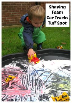 Shaving Foam is a brilliant resource to use and relatively cheap too. Although Adam isn& a fan of touching the shaving foam he will do if cars are involved. We created a Shaving Foam Car Tracks Tuff Spot to explore the shaving foam and paints. Eyfs Activities, Nursery Activities, Infant Activities, Activities For Kids, Baby Sensory, Sensory Bins, Sensory Play, Tuff Spot, Tuff Tray Ideas Toddlers