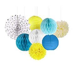 SUNBEAUTY Pack of 8 Yellow White Blue Tissue Paper Crafts Pom Poms Paper Fans Honeycomb Balls Kit for Wedding Baby Shower Party Decoration (Style-1)