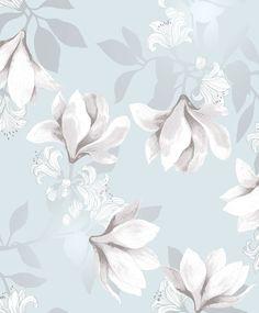 Vallila Magnolia Duck Egg Wallpaper main *Wallpaper for the powder room