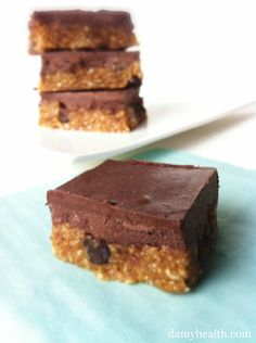 Chocolate Ganache Cookie Dough Squares-- This recipe is no bake, vegan, gluten free, secret coconut oil ingredient and a crowd pleaser!