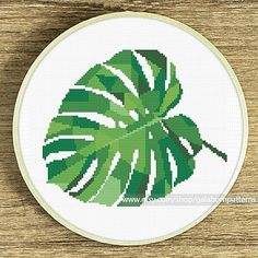Cross stitch pattern Monstera Modern cross stitch chart Plants embroidery green leaves