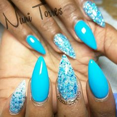 Bright Tiffany Blue Stiletto Nails With Shimmer.