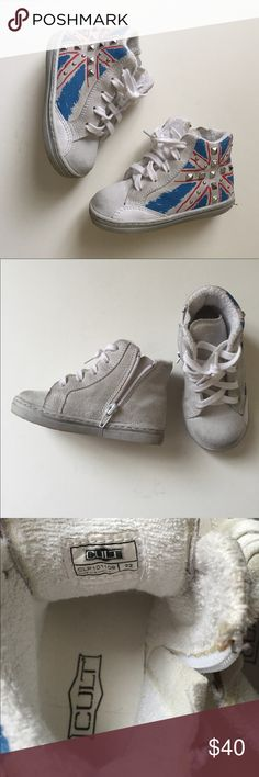 Cult distressed white hightop toddler sneakers Barely worn. European style, high top sneakers for girls, size 22 toddler (about 6 US), side zip closure, laced up front cult Shoes Sneakers