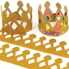Buy Gold Glitter Foam Crowns at Baker Ross. Gold glitter foam crowns to personalise with jewels, sequins and stick-ons. Easy to fasten and can be adjusted to size. Foam Crafts, Diy And Crafts, Crafts For Kids, Arts And Crafts, Crown For Kids, Felt Crown, Bible School Crafts, Crown Template, Paper Crowns