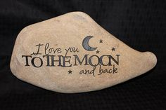 Hand Engraved Rock I Love You to the Moon and door GaleStreetStudio