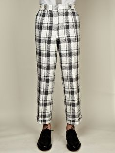 Thom Browne SS13 Men's High Wasited Double Pleat Trouser in black / white at oki-ni