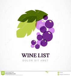 Vector Logo Design Template. Branch Of Grape With Leaves Stock ...