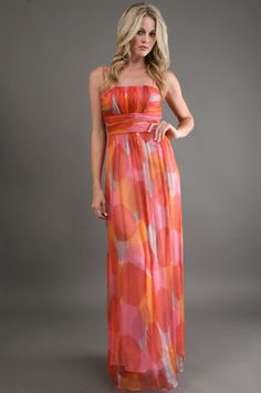 Polka Dot Maxi Dress in Coral.