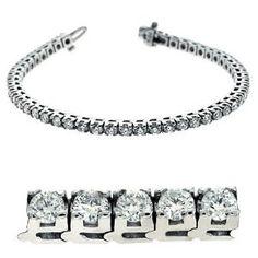 14k White Gold 5.00 Dwt Diamond Prong Set Tennis Bracelet - JewelryWeb - http://finejewelrygalleria.com/jewelry/bracelets/14k-white-gold-500-dwt-diamond-prong-set-tennis-bracelet-jewelryweb-com/