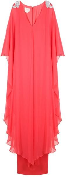 Notte By Marchesa Embroidered Shoulder Kaftan Gown in Red