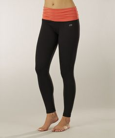 Take a look at this Sizzling Coral & Black Pleated Leggings - Women by Marika on #zulily today!