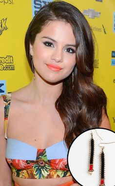 Selena Gomez goes for a simplistic yet stylish look by wearing Iwona Ludyga's tribe long beaded jewelry.