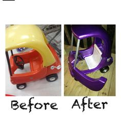 Turned an older model Little Tikes Coupe into a more up to date version for my little girl. I still have little details I want to add but this is the overall look.