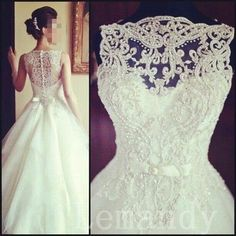 vintage sleeveless princess beaded lace and tulle wedding dress. $286.00, via Etsy.