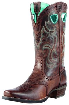 Ariat Women's Good Times Antique Brown Punchy Square Toe Western ...
