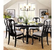Dining Room featuring the Celeste Chandelier, Queen Anne Dining Chairs and Aris Pedestal Dining Table from Pottery Barn Black Dining Room Chairs, Dining Room Table, Black Chairs, Dining Rooms, Dining Sets, Round Dining, Office Chairs, Dining Area, Pottery Barn Furniture