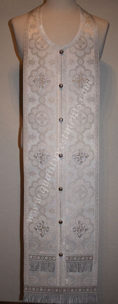 """Communion Priest Set Epitraphilion & Cuff White Silver 44 1/2"""" (113 cm) Metallic"""