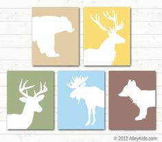 Forest Woodland Animal Nursery Prints Pick any 4.... these would look great in all neutrals in a den.
