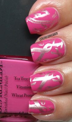 Breast Cancer Awareness Manicure - Pink & Silver