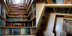 book storage and stairs to a room with a view!
