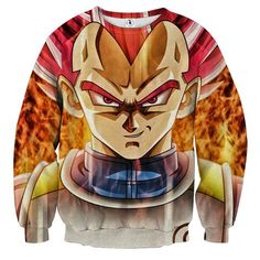 Dragon Ball Vegeta Super Saiyan Rose Portrait Cool Sweatshirt    #DragonBall #Vegeta #SuperSaiyan #Rose #Portrait #Cool #Sweatshirt