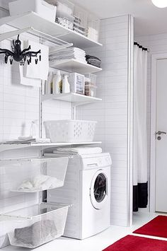 ALGOT Wall upright/shelves/drying rack, white - Shop here - IKEA Laundry Closet, Laundry Room Organization, Small Laundry, Laundry In Bathroom, Laundry Rooms, Laundry Area, Basement Laundry, Ikea Laundry Room Cabinets, Storage Organization