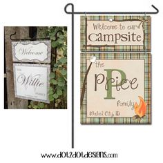 Personalized / Custom Garden / Yard Metal Flag / Sign - Outdoor / Marshmallow / Rustic / Happy Campers / Campsite / Camp Sign / Camp Trailer on Etsy, $30.00