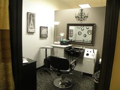 I like the wall decor and cute fake chandelier over mirror. Inspiration for  small home nail salon   nail technician room decorating ideas
